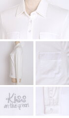 異素材ポケット付き長袖鹿の子ポロシャツ【着心地抜群しっかり綿素材】