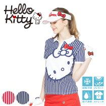 限定Hello Kittyコラボ★キティちゃんプリントポロシャツ【吸水速乾・UV加工・接触冷感】