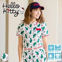 限定Hello Kittyコラボ★キティちゃんグリーン柄ポロシャツ【吸水速乾・UV加工・接触冷感】