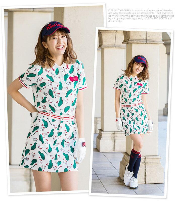 限定Hello Kittyコラボ★キティちゃんグリーン柄ポロシャツ