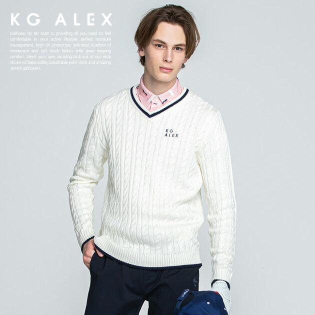 ケーブル編みライン入りニットセーター【オフ】
