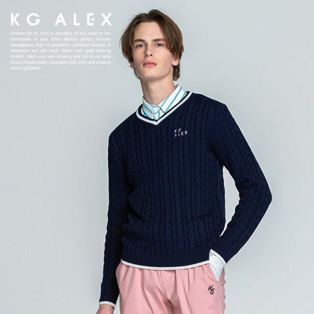 ケーブル編みライン入りニットセーター【ネイビー】