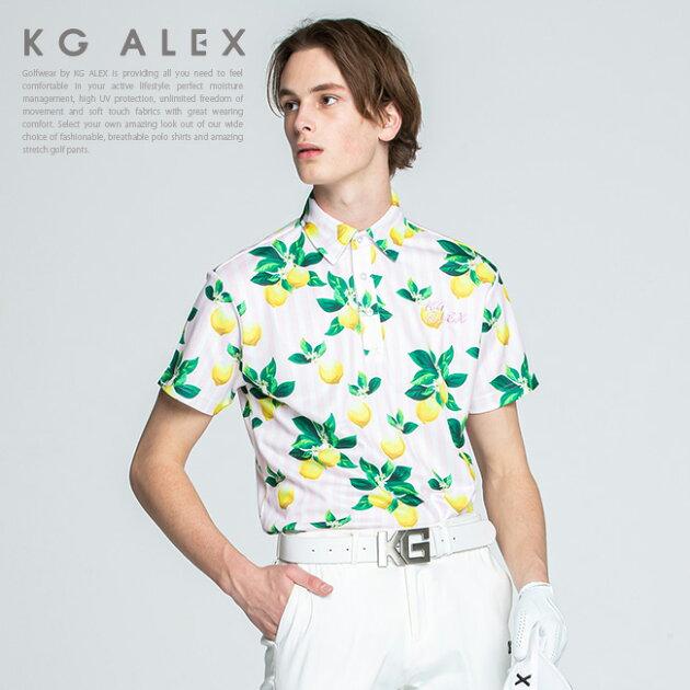 レモン×ストライプ柄半袖ポロシャツ【吸水速乾・UV加工・接触冷感】
