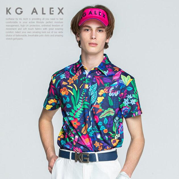 【10周年 特別企画】ボタニカル柄半袖ポロシャツ【吸水速乾・UV加工・接触冷感】