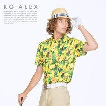 ボタニカル柄半袖ポロシャツ