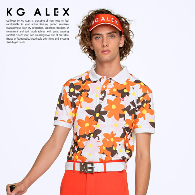 フラワープリント半袖ポロシャツ
