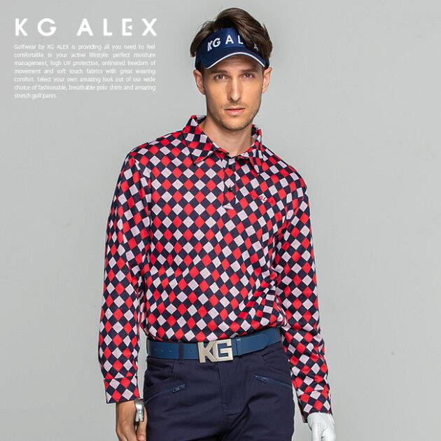 ダイヤ柄長袖カットソーシャツ
