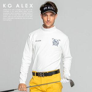 ゴルフ カットソー トップス ゴルフウェア メンズ おしゃれ カットソー 定番 無地 / ゴルフモチーフロゴ刺繍入りハイネック長袖カットソー M-L / 伸縮性 カットソー素材 着心地 抜群 無地 / KG-ALEX メンズ ギフト プレゼント コンペ