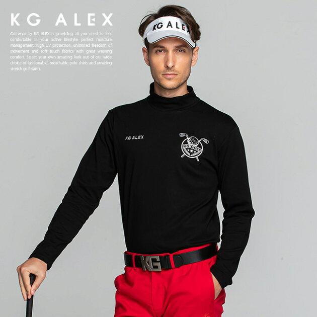 ゴルフモチーフロゴ刺繍入りハイネック長袖カットソー