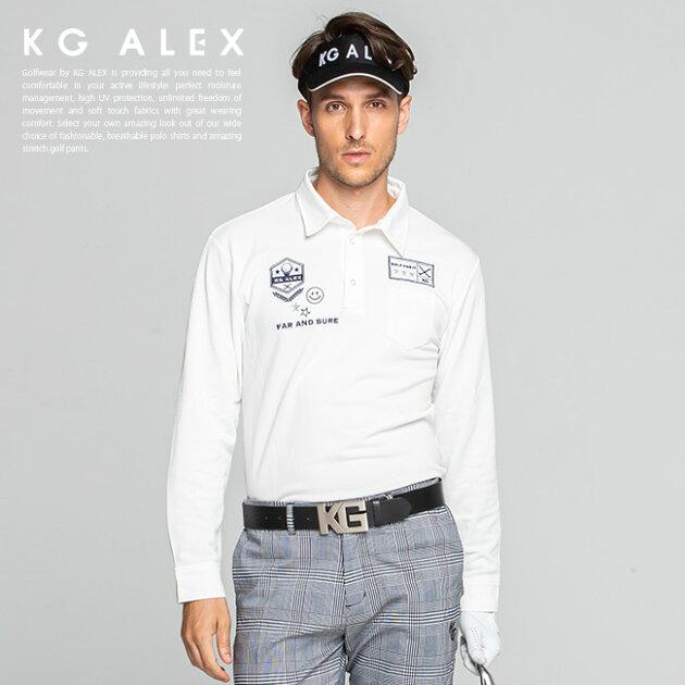 ゴルフモチーフロゴ刺繍入り長袖鹿の子ポロシャツ