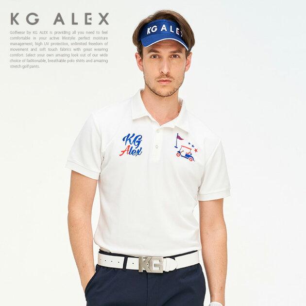 ゴルフモチーフ刺繍入り鹿の子ポロシャツ