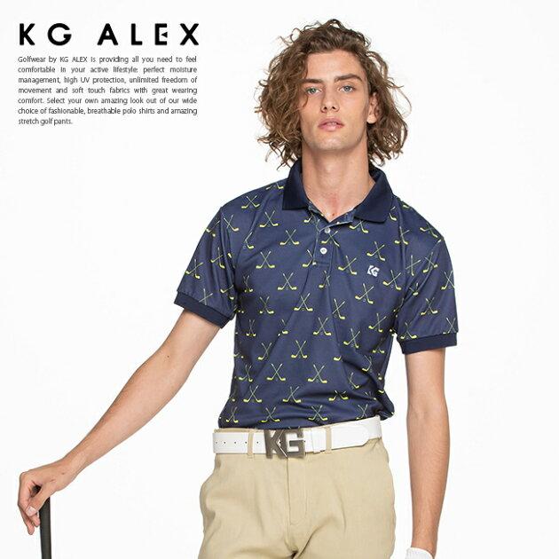 ゴルフクラブ柄半袖ポロシャツ