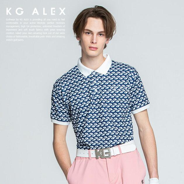 ウェーブ柄半袖ポロシャツ