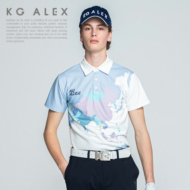 ワールドマップ柄半袖ポロシャツ【吸水速乾・UV加工・接触冷感】