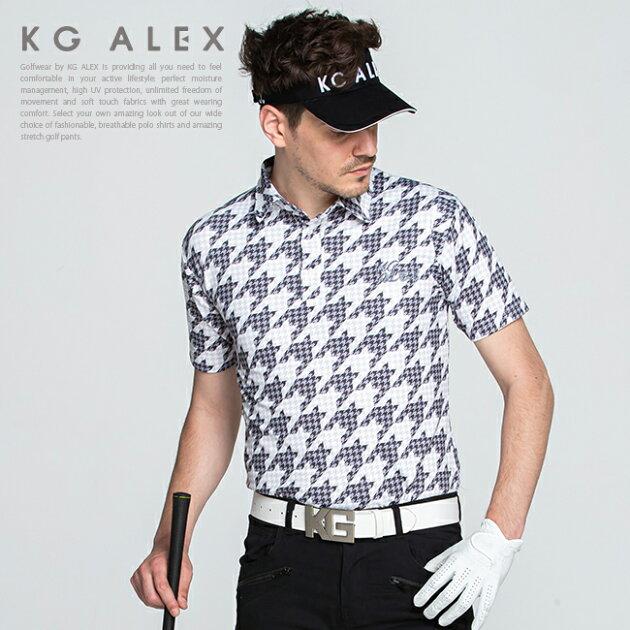 千鳥格子柄半袖ポロシャツ【吸水速乾・UV加工・接触冷感】【ブラック】
