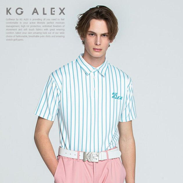 ストライプ半袖ポロシャツ【吸水速乾・UV加工・接触冷感】【サックス】