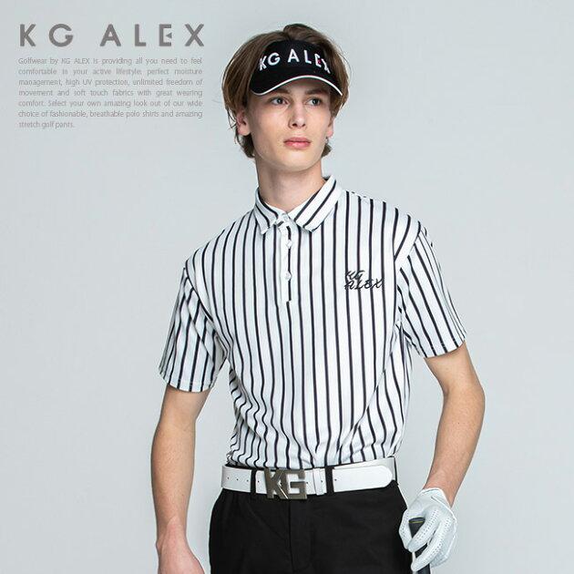 ストライプ半袖ポロシャツ【吸水速乾・UV加工・接触冷感】【ブラック】