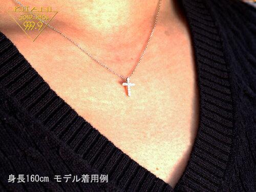K18ホワイトゴールド 無色 天然 ダイヤ 0.1ct クロス(十字架)(K18WG 小豆スライドチェーン付)