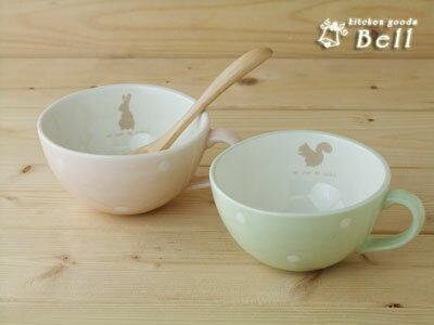 アンジュール スープカップ 選べる2柄 うさぎ or りす 満水約336cc スープボウル
