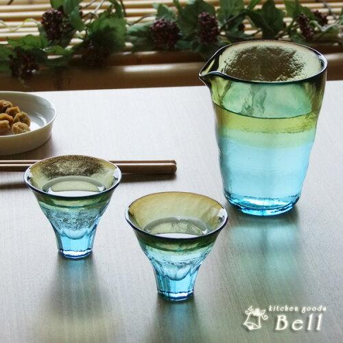 津軽びいどろ 酒器セット 徳利X1&盃X2 化粧箱入 ..- /ハンドメイドガラス/冷...