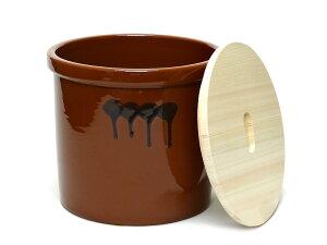 陶器製漬物容器の国内トップシェアメーカー商品に国産ひのきの蓋を合わせました!【味噌造り】...