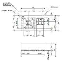 【送料無料】新品!オザキガス卓上コンロ(2口)W700*D450*H180(mm)OZ70K