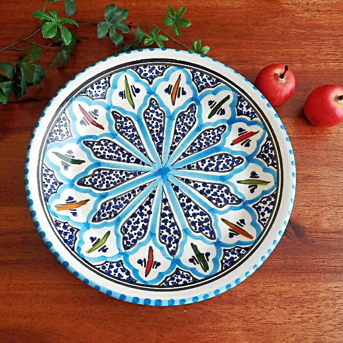 チュニジア  皿 プレート 20センチ ブルー チュニジア ナブール食器  2029
