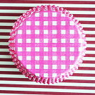 ケーキカップマフィン型ベーキングカップ紙製ピンクのギンガム60枚入りパラフィン紙ドイツ製
