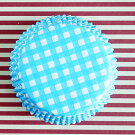 ケーキカップマフィン型ベーキングカップ紙製水色のギンガム60枚入りパラフィン紙ドイツ製