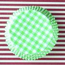 ケーキカップマフィン型ベーキングカップ紙製グリーンのギンガム60枚入りパラフィン紙ドイツ製