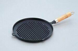 手軽に美味しいステーキが焼ける 南部鉄器 『 木柄グリルパン 』 岩鋳 日本製 (100V・200】V IH対応) 23029