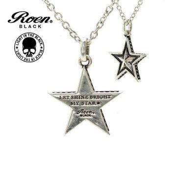Roen BLACK ネックレス 星 スター ロエン ブラック ペンダント STAR シルバー ラウンド ネックレス チェーンネックレス RO-603 メンズ レディース アクセサリー ジュエリー ブランド アクセ