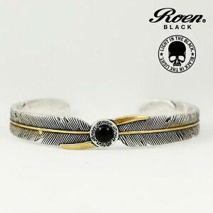 627da72f01ea6d Roen BLACK ブレスレット フェザー バングル ロエン ブラック オニキス 天然石 RO-303 シルバー×ゴールド アクセサリー ジュエリー Roen  ロエン Roen BLACK ...