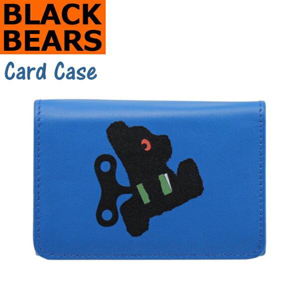 BLACK BEARS ブラックベア イタリア製の本革を使用したカードケース ブルー