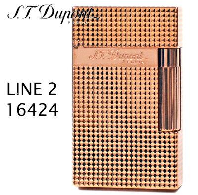 【送料無料】S.T.Dupont LINE2 16424 デュポンライター ライン2 ダイヤカット ピンクゴールド装飾
