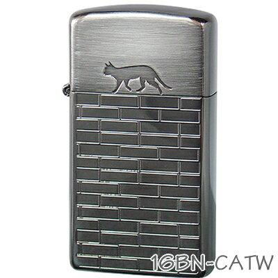 ZIPPO ジッポー 16BN-CATW キャットウォーク スリム ブラックニッケル 猫ちゃんシルエット かわいいジッポーオイルライター zippoメンズ ギフト画像