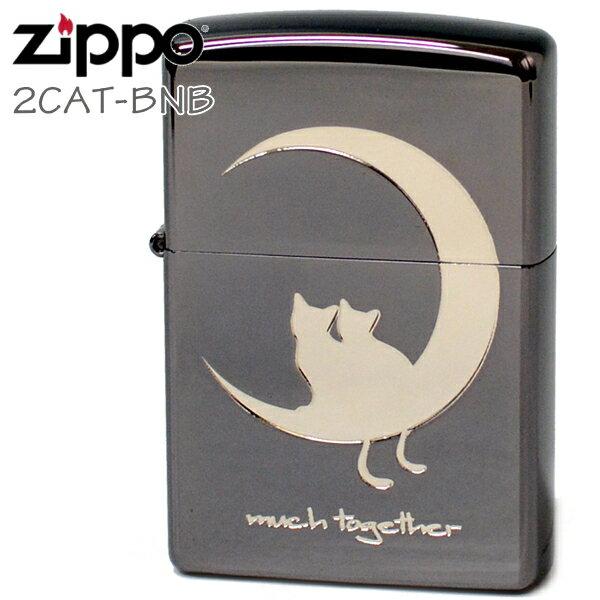 ZIPPO ジッポー 2CAT-BNB キャット&ムーン Bタイプブラック 猫ちゃんと月 かわいいジッポーライターメンズ ギフト画像