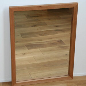 【完全日本製】鏡 壁掛け アンティーク 木製 ミラー 木枠の鏡 ブラックチェリー材 650×500サイズ 枠幅30ミリタイプ【完全受注製作品】