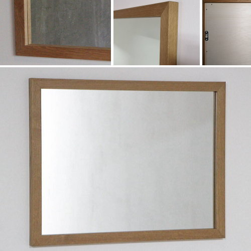 洗面台 鏡 大きい 洗面所 鏡 洗面 鏡 木枠 鏡 壁掛け おしゃれ /オーク材 650×500 木枠幅30mm/ 美容室 鏡 ミラー 壁掛け 角型 ウォールミラー 全身鏡 鏡 かがみ 壁掛け アンティーク 姿見 北欧 木製