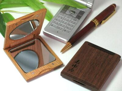 手作りギフトはバッグの中もレディースらしく☆刻印無料!木製ハンドミラー名入れ【手鏡】母へ/...