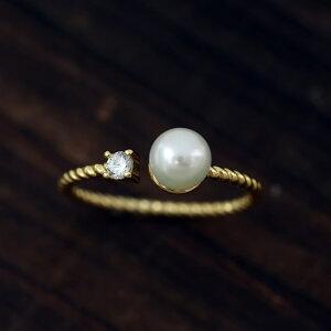 シルバー925 アコヤ真珠 ツイスト パールリング フリーサイズ ゴールド/ロジウム全2色 あこや ジルコニア 指輪 レディース