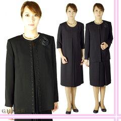 限定品・日本製大きいサイズ*合物*ブラックフォーマルアンサンブル婦人礼服・喪服:RL17922【卒...