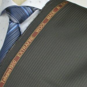 【A】:お好みの素材Tollegno1900 イタリア製生地:POW59TN5264ビッグサイズ(bigsize)の方に最適 チャコールグレーのストライプ柄合物(スリーシーズン秋冬梅春)パターンオーダースーツのS上下出来上がり価格