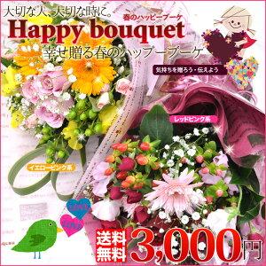 【送料無料/コミコミ3000円】お色が選べる◆幸せ贈る春のハッピーブーケ
