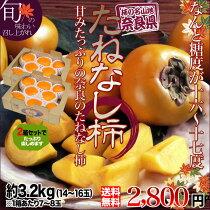 送料無料奈良産甘いたねなし柿(種無し柿)2箱セットで約3.2kg(14〜16玉)