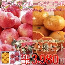 店長激オシ送料無料!夏といえばこれ!果汁たっぷりの桃と甘みが詰まったハウスみかんをセットでお届け!