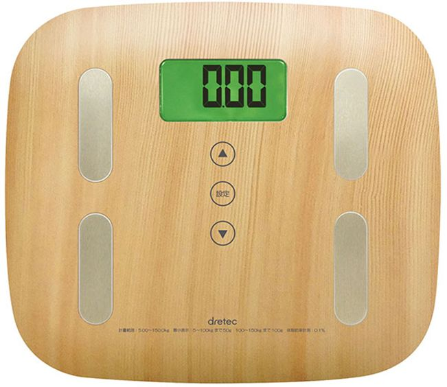 ドリテック 木目調体脂肪計 ナチュラルウッド BS-244NW