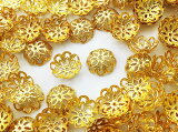 ビーズキャップ 12mm ゴールド 座金 花座 200個 (AP0813)