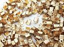 紐止め金具 カシメ ゴールド KC金 200個 幅3mm エンドパーツ (AP0831)