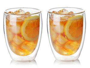 ダブルウォールグラス 300ml ペア 2個 セット タンブラー グラス 保温 保冷 水滴無 耐熱ガラス二重構造 ビール アイス コーヒー カフェ ラテ ティー 紅茶 野菜 パフェ 食器 おうち カフェ プレゼント
